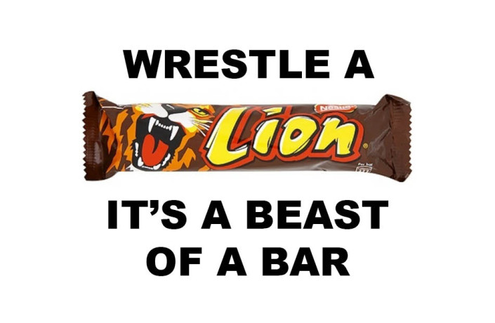 Endlines: Nestle Lion - Wrestle a Lion, it's a beast of a bar