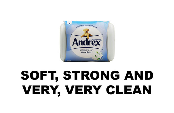 Endlines: Andrex Toilet Tissue Wipes - Soft, strong and very, very long