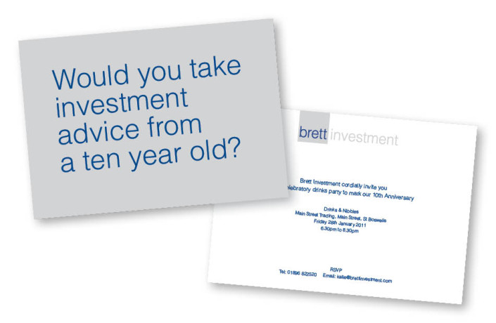 Graphic Design: Brett Investment - 10th year anniversary invite