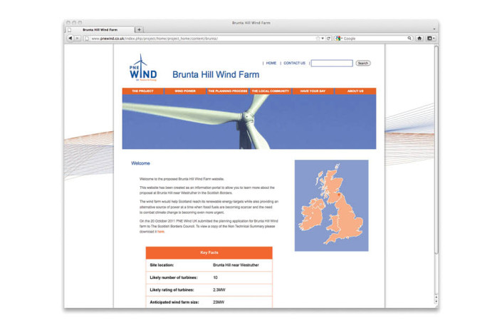 Web Design: PNE Wind UK - Project website
