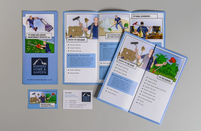 Graphic Design: Borders Home & Garden business card and leaflet